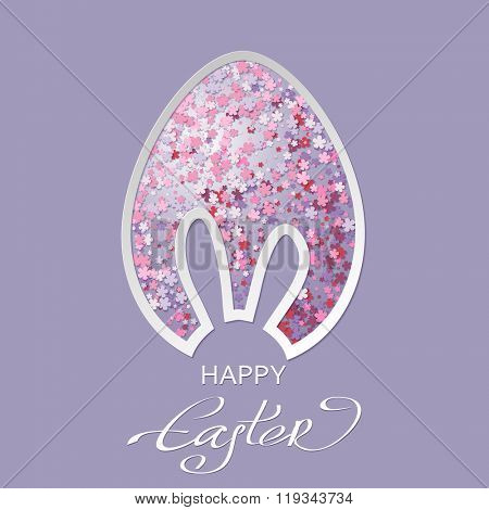 vector illustration of Happy Easter greeting card with an abstract Easter egg and bunny ear