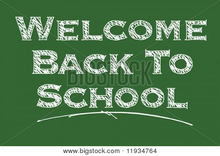 Welcome Back To School Illustrated on a Chalk Board.