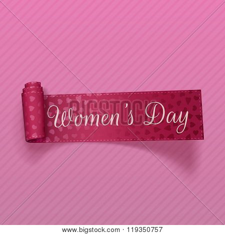 March 8 Womens Day realistic scroll pink Ribbon