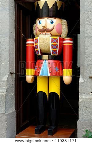 A large traditional toy soldier figurine in Rothenburg ob der Tauber Germany. It is one of the best-preserved medieval towns in Europe part of the famous Romantic Road tourist route.