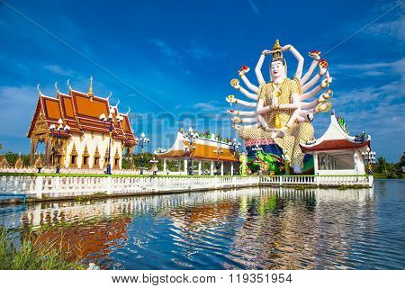 Wat Plai Laem temple with 18 hands God statue (Guanyin), Koh Samui, Surat Thani, Thailand.