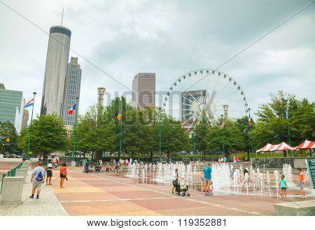 Centennial Park With People In Atlanta, Ga