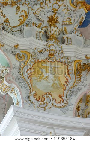 STEINGADEN GERMANY - AUGUST 11 2015: Interior detail of Wieskirche - the famous pilgrimage Church of the Scourged Saviour near Steingaden in Bavaria Germany - an UNESCO world heritage site.