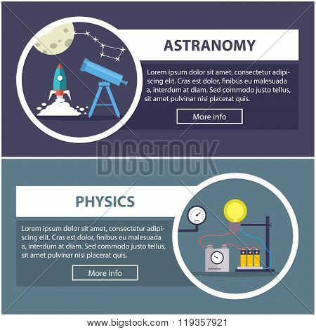 physics and astronomy banners with the concept of scientific equipment and work space for the teache