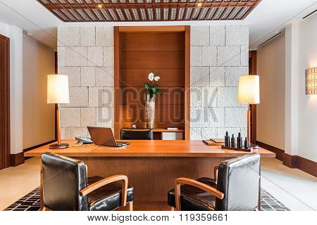 retro office room interior with desk and armchair