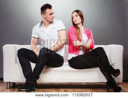 Unhappy Couple Not Talking. Disagreement