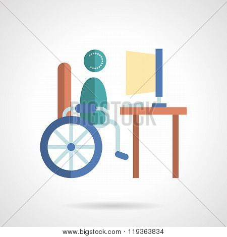 Online education services flat color vector icon