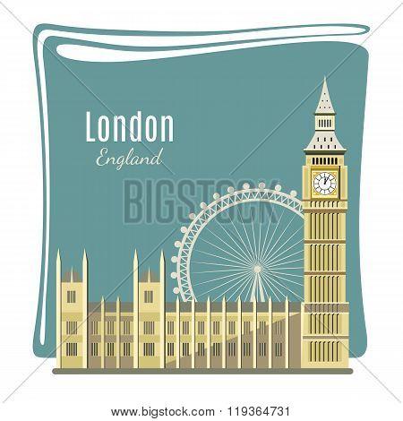 London landmarks detailed illustration