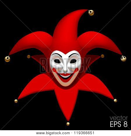 Three Dimensional smiling Joker head in red cap an white mask isolated on black. Vector illustration