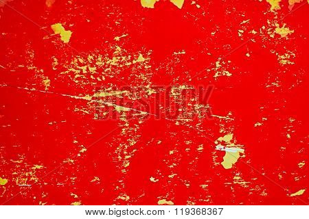 Weathered Red Sign Surface
