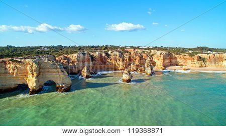 Praia da Marinha in the Algarve, the most famous beach in Portugal