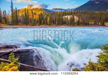 Canada, Jasper National Park. Powerful and scenic Athabasca Falls. Emerald water roars and foams on steep slope
