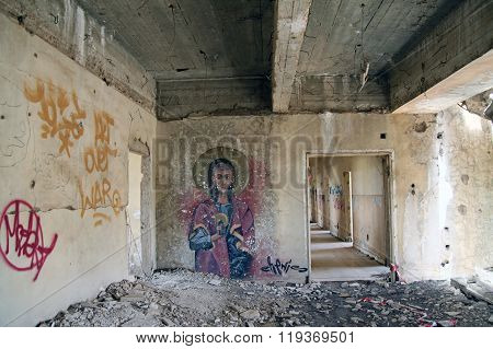 Graffiti On The Wall In Abandoned City Of Quneitra