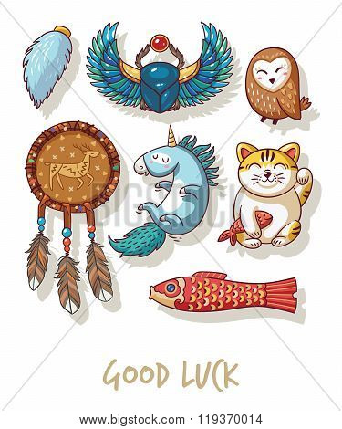 Lucky icons and design elements isolated on white background. Collection of happy icons - maneki neko, owl, dreamcatcher, bug skoroby, unicorn, carp kite poster