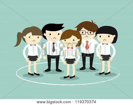 Business concept, business people are stuck in the circle. Vector illustration.
