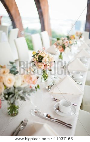 Beautiful Flowers As Dining Table Decoration