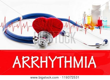 The diagnosis of arrhythmia. Phonendoscope and vaccine with drugs. Medical concept. poster