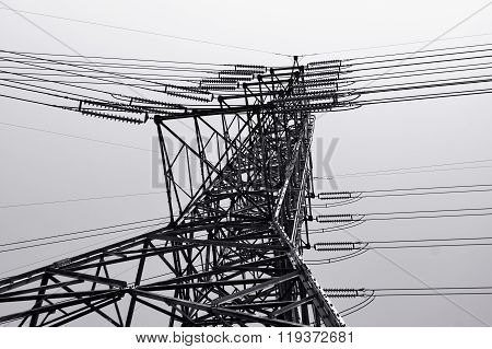 Black and white of power transmission lines