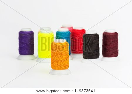 Colorful Waxed Cord Isolated On White Background