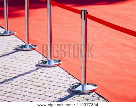 Red Carpet Fence Pole With Red Rope Event Fashion Show Background
