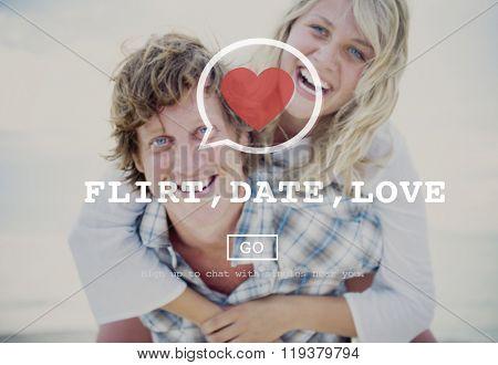 Flirt Date Love Valantine Romance Heart Passion Concept