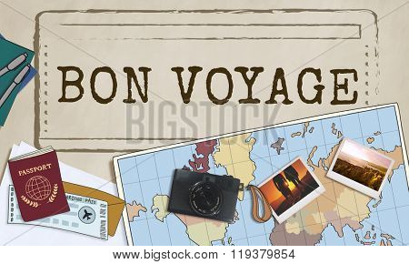Bon Voyage Good Luck Trip Traveling Journey Concept poster