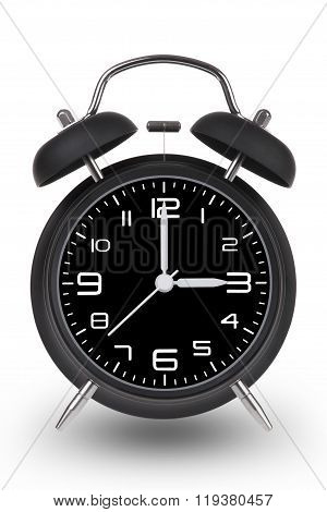 Black Alarm Clock With Hands At 3 Am Or Pm Isolated On White Background