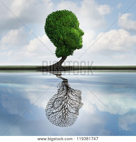 Hidden depression concept and private feelings symbol as a tree with leaves shaped as a human head with a reflection on water with an empty plant as an internal psychology idea for visualizing concealed emotions. poster