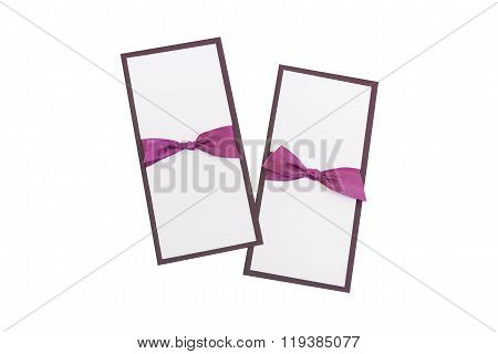 Handmade Cards With Purple Satin Tape On White