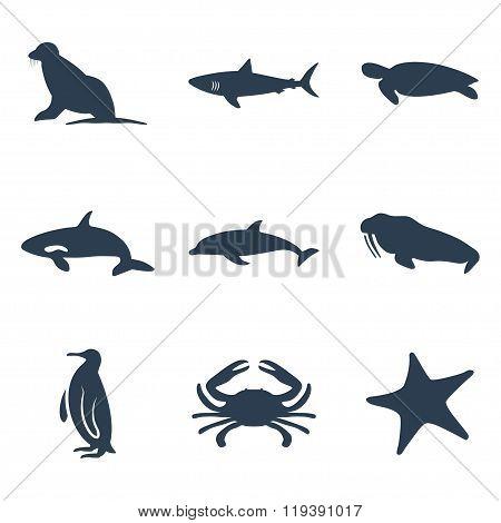 Maritime Animals Icon Set. Vector Illustration. Vector Symbols.