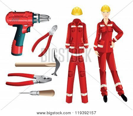 Set of protective wear and woker tools