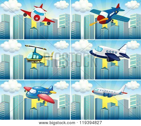 Helicopter and airplanes flying in the city illustration