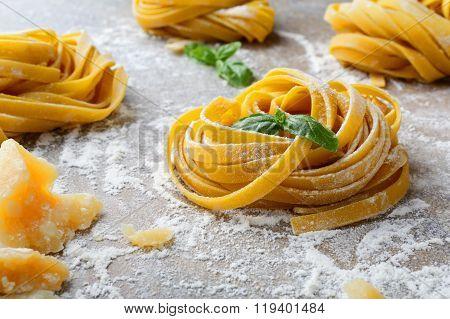 Homemade Tagliatelle Pasta Nest