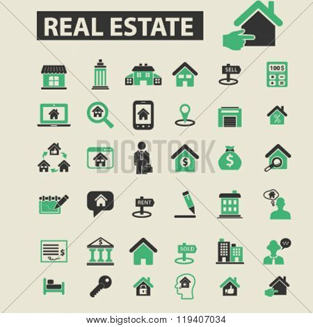 real estate icons, real estate logo, real estate vector, real estate flat illustration concept, real estate infographics, real estate symbols,