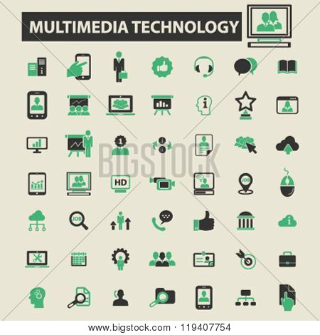 multimedia technology icons, multimedia technology logo, multimedia technology vector, multimedia technology flat illustration concept, multimedia technology infographics