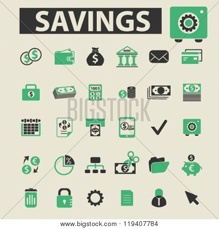 savings icons, savings logo, savings vector, savings flat illustration concept, savings infographics, savings symbols,
