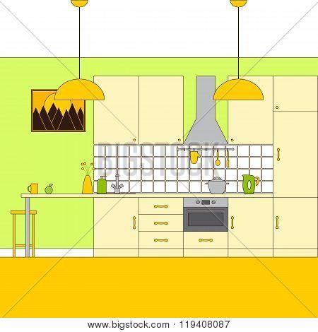 Flaxen Colored Kitchen Interior