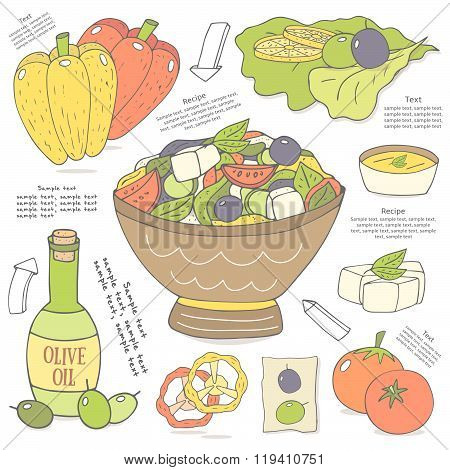 Salad ingredients collection