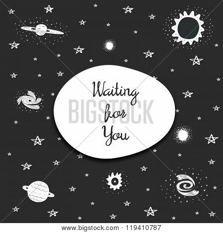 Waiting for you postcard with stars and cosmic objects