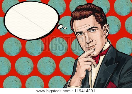 Vintage  thinking Pop Art Man with thought  bubble pop art background, tuxedo