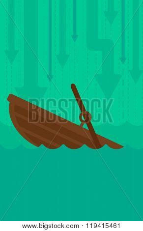 Background of sinking boat and arrows moving down.