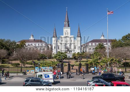 New Orleans, La/usa - Circa February 2016: St. Louis Cathedral And Jackson Square In French Quarter,