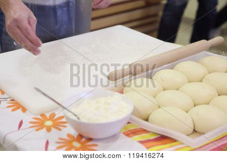 The Man Strews A Flour Dough