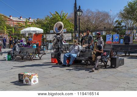 New Orleans, La/usa - Circa February 2016: Young Band Of Musicians Perform At Jackson Square, French