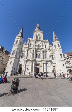 New Orleans, La/usa - Circa February 2016: St. Louis Cathedral In French Quarter, New Orleans,  Loui