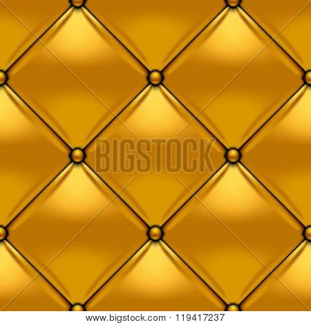 Gold button-tufted leather background. Gold upholstery seamless pattern