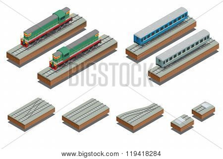 Fast Train coach and diesel electric locomotive. Vector isometric illustration of a Fast Train. Vehi