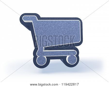 Shopping Cart Icon In Blueish Denim Look