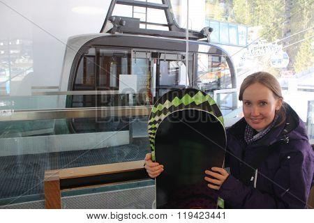 Cable car in Zell am See, skiing resort in North Tirol, Austria.