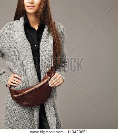 Elegant Model With A Leather Fanny Pack